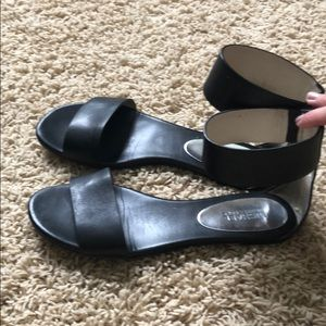 Micheal Kors black ankle zip sandals 8.5